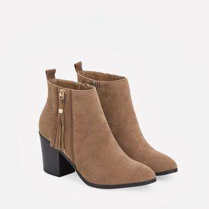 JustFab Denee Tan Ankle Boots